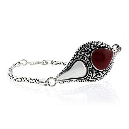 Natural Red Coral Sterling Silver Vintage Bracelet