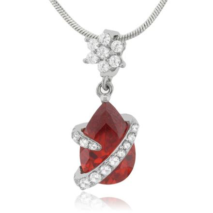 Fire Cherry Opal Flower Silver Pendant