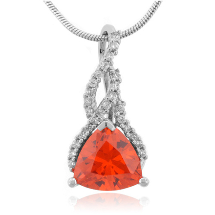 Fire Cherry Opal .925 Sterling Silver Necklace