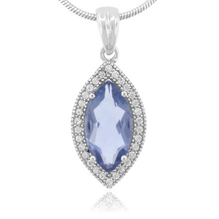 Marquise Cut High Quality Alexandrite .925 Silver Pendant