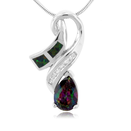 Pear Cut Caribbean Topaz And Opal Silver Pendant