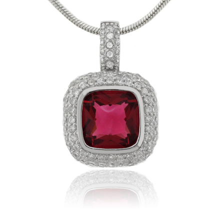 Cushion Cut Tourmaline Silver Pendant