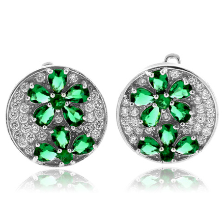 MicroPave Flower Emerald Sterling Silver Earrings