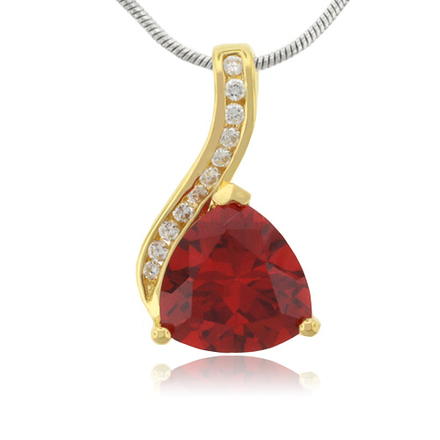 Trillion Cut Cherry Opal 14k Gold Plated Silver Pendant