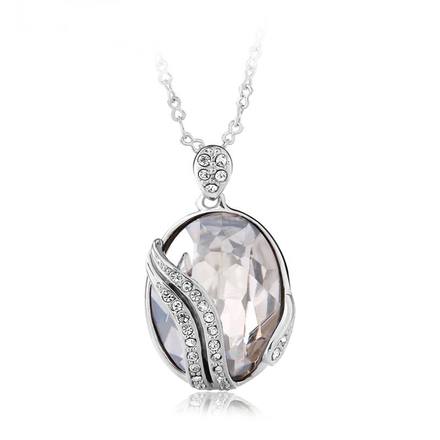 18K White Gold Plated White Swarovski Crystal Necklace