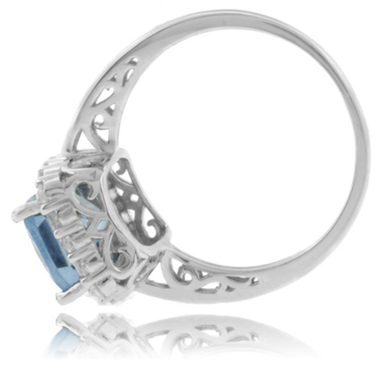 Emerald Cut Aquamarine .925 Silver Ring
