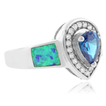Pear Cut Blue Topaz and Australian Opal .925 Silver Ring