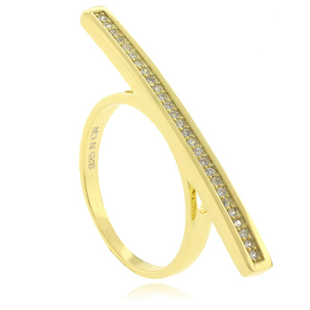 Gold Plated MicroPave .925 Silver Ring
