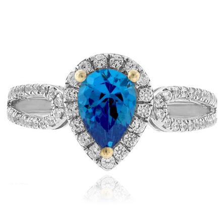Anillo de Plata con Topacio Azul y Diamantes