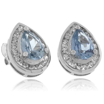 Pear Cut Aquamarine Silver Earrings