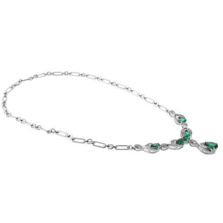 Lujoso Collar de Plata .925 con Esmeralda