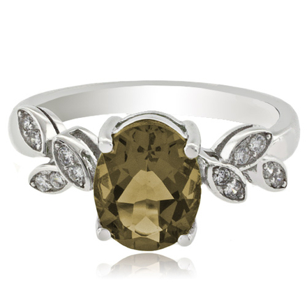 Oval Cut Alexandrite .925 Silver Ring (Green/Brownish)