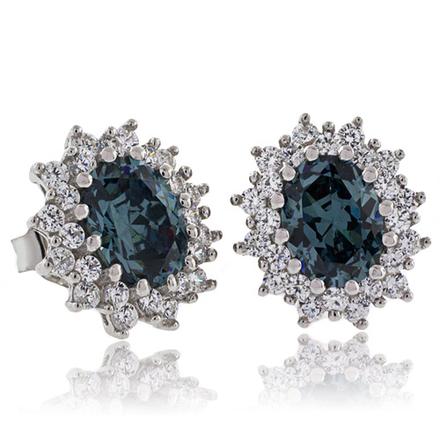Oval Cut Alexandrite Framed .925 Silver Earrings