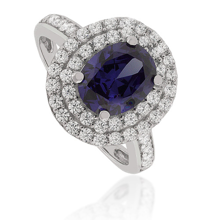 Oval-Cut Tanzanite Ring in .925 Silver