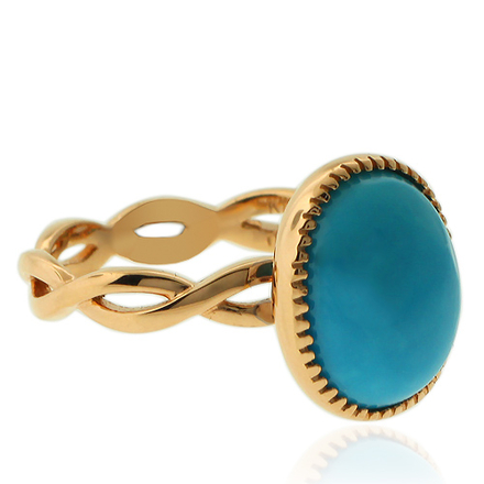 18K Yellow Gold Genuine Turquoise Ring