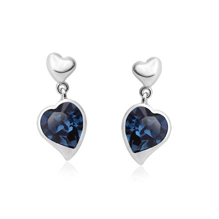 Heart Shaped Blue Swarovski Drop Earrings