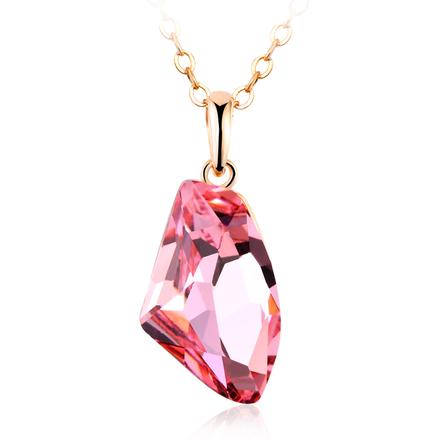 Divine 18K Gold Plated Pink Swarovski Crystal Necklace