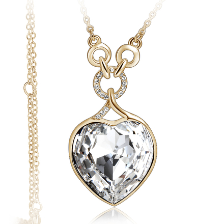 Gorgeous 18K Yellow Gold Plated White Heart Swarovski Necklace