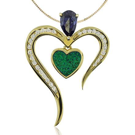 Hermoso Dije en Baño de Oro con Tanzanita en Corte Pera y Ópalo Australiano en Forma de Corazón