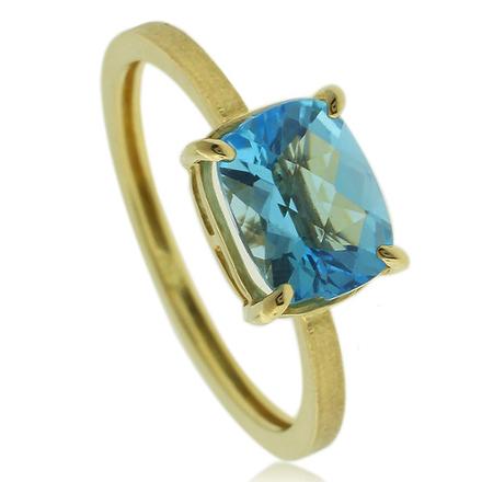 Hermoso Anillo de Oro de 14K con Piedra Preciosa de Topacio Azul Genuino en Corte Rectangular