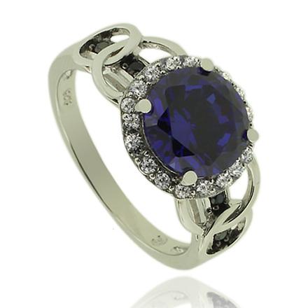 Beautiful Silver Ring With Round Cut Tanzanite Gemstone