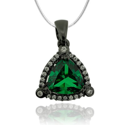 Gorgeous Black Silver Pendant With Emerald Gemstone In Trillion Cut and Zirconia.