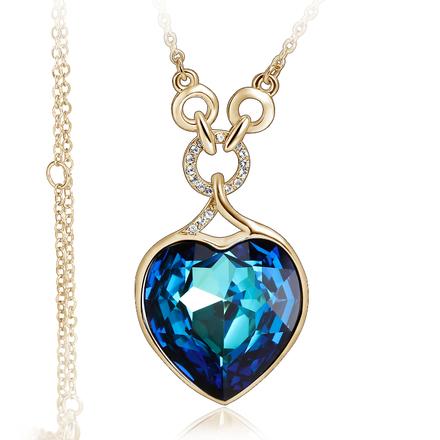 Elegante Collar Corazón Swarovski Color Azul con Baño de Oro Amarillo 18K