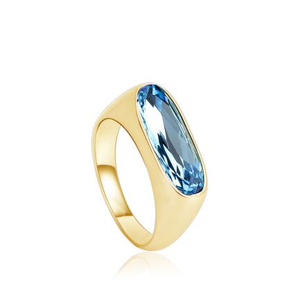 18K Baño de Oro Hermoso Anillo de Swarovski Color Azul