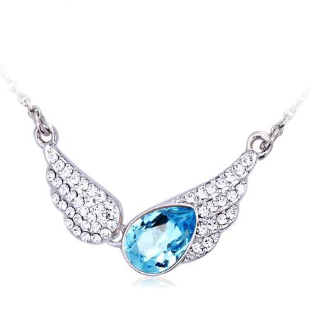 Collar de Alas Swarovski con Rodio Color Azul