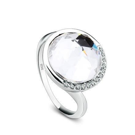 Elegante Anillo de Cristal Swarovski Blanco