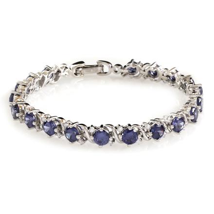 Round Cut Tanzanite Stones .925 Sterling Silver Bracelet