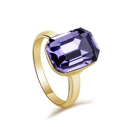 Amethyst Color Swarovski Crystal Ring