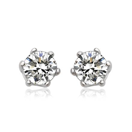 Aretes Blancos de Diamante Simulado Con Plata