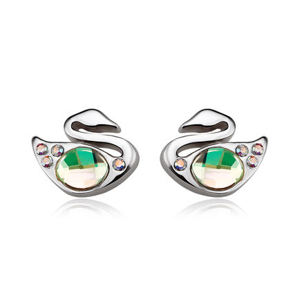 Beautiful Swarovski Green Color Swan Earrings