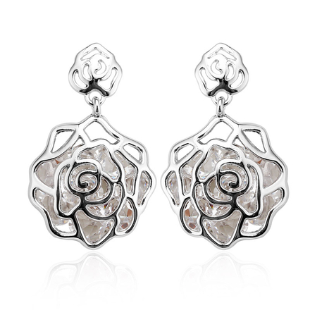 Pretty Rhodium Flower-shaped Earrings