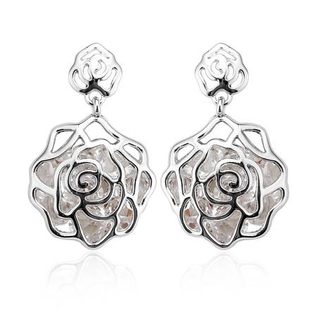 Pretty Rhodium Flower-shaped Earrings