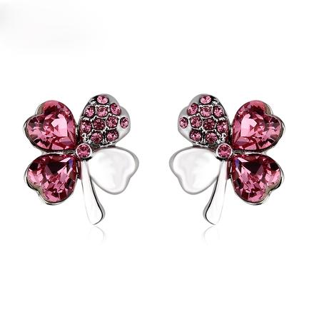 Beautiful Red Swarovski Earrings in Shape of Clover