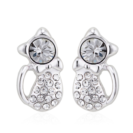 Cat Earrings with Crystals