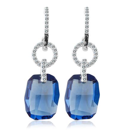 Aretes Largos de Cristal Azul de Swarovski en Plata de Ley Color Azul