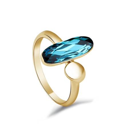 Anillo de Cristal Swarovski Azul con 18K Baño de Oro