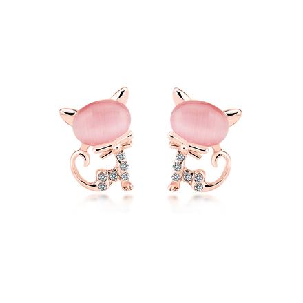 Bonito Juego de Collar y Aretes de Gato Color Rosa