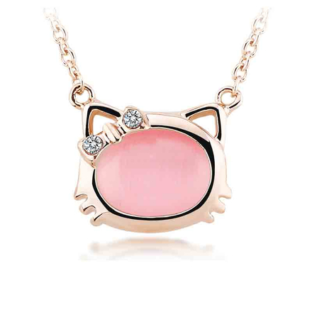Pretty Pink Cat Necklace and Cat Earrings Set