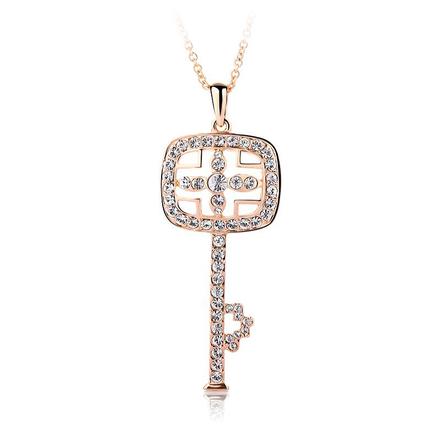 Collar de Llave con Cristal Swarovski y 18k Baño de Oro Rosa