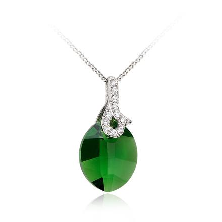 Hermoso Dije de Cristal Swarovski en Color Verde Esmeralda