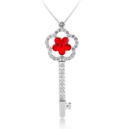 Collar de Llave en Forma de Flor color Rojo