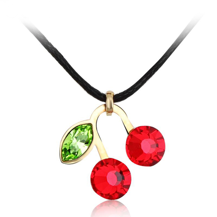 Collar Swarovski de Cerezas Color Rojo