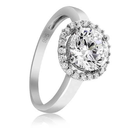 Beautiful Ring in Round Cut Decorated With Small Simulated Diamond Stones