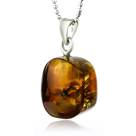 Natural Amber Sterling Silver Pendant 20mm x 10mm