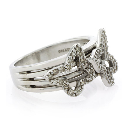 Anillo de Plata con Diamantes Genuinos