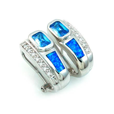 Emerald Cut Blue Topaz with Australian Opal Silver Earrings